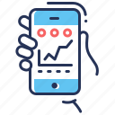 graph, hand, smartphone, training app icon