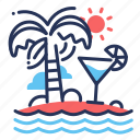 cosktail, island, palms, waves icon