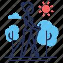 female, outdoors, pole walking, sticks icon