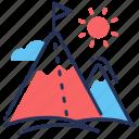 peaks, mountaineering, mountains, resort icon