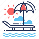 beach, sea, seaside, vacations icon