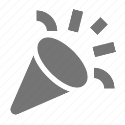 megaphone, party, popper icon