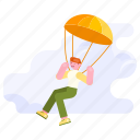 hobby, airdrop, travel, transportation, parachute, people