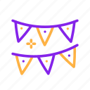 birthday, decoration, flags, party icon
