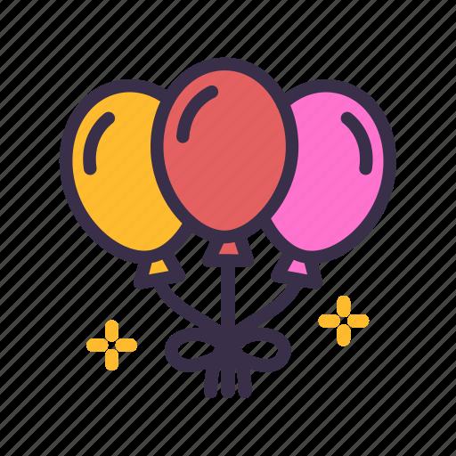 balloons, birthday, celebration, christmas, decoration, ornament, party icon