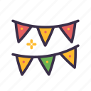 birthday, celebration, decoration, flags, holiday, party icon