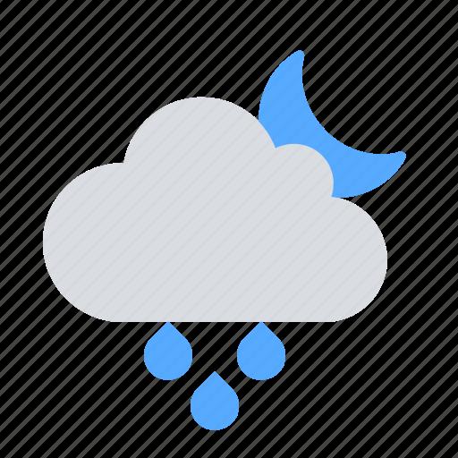 night, precipitation, rain icon