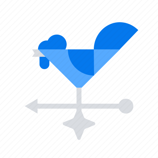 cock, rooster, wind direction icon