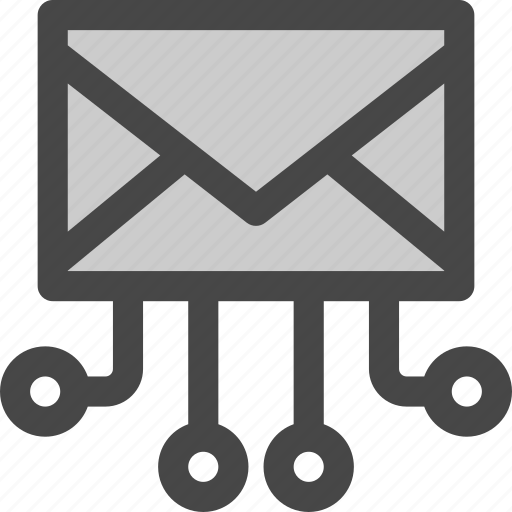 connections, data, envelope, flow, mail, message icon