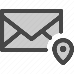 envelope, location, mail, map, message, pin icon
