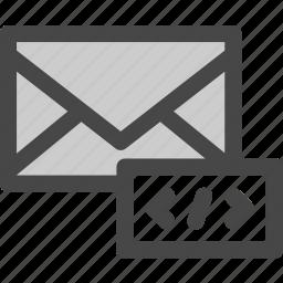 code, envelope, internet, mail, markup, message, programming icon
