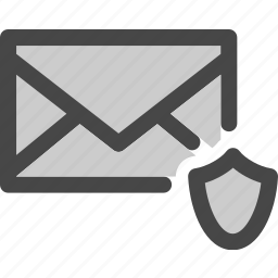 envelope, mail, message, protected, secured, shield icon