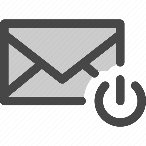 envelope, mail, message, power, standby icon
