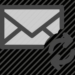 envelope, loading, mail, message, synchronization icon