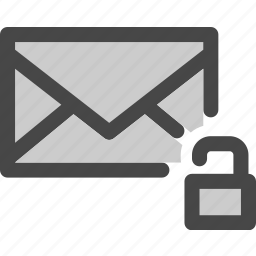 available, envelope, mail, message, unlocked, unprotected icon
