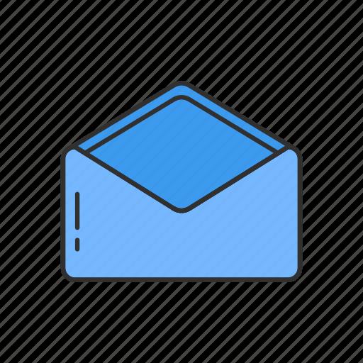 envelope, letter, message, open envelope icon