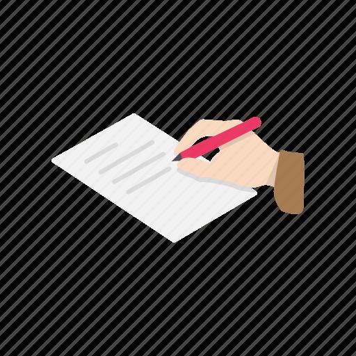 hand, letter, message, pen icon