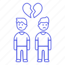 breakup, broken, couple, ending, gay, heart, lgbt, men, relationship, sadness, separation icon