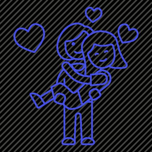 1, couple, gay, happy, heart, lesbian, lesbians, lgbt, lift, lifting, love, lover, princess, woman, women icon