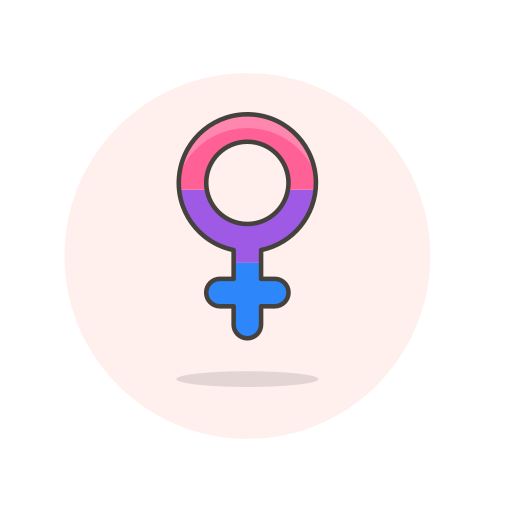 bisexual, female, sign icon