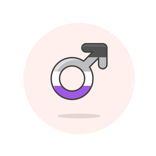 asexual, male, sign icon