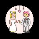 dance, gawn, lesbian, suit, wedding icon