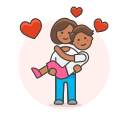 arms, couple, hold, in, lesbian, love icon