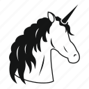animal, fantasy, horn, horse, magic, mane, unicorn icon