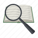 book, document, education, learning, magnifier, reading, text icon