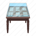 furniture, glass, interior, library, manuscript, table, windy icon
