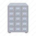 archive, cabinet, file cabinet, folder, furniture, interior, library icon