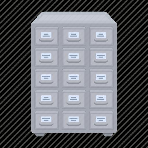 archive, cabinet, file cabinet, folder, furniture, interior, library icon