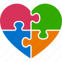 concept, heart, jigsaw, love, puzzle, autism, awareness