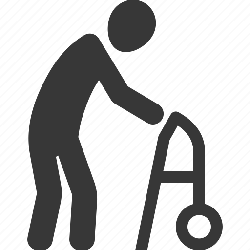 life insurance, old man, walker icon