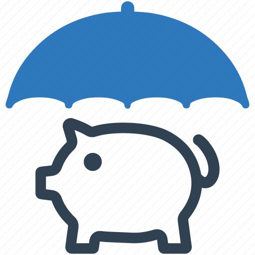 money, piggy bank, savings protection, umbrella icon