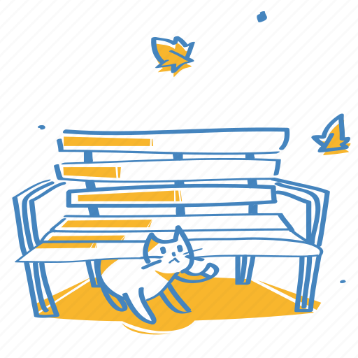 bench, cat, chair, park bench icon