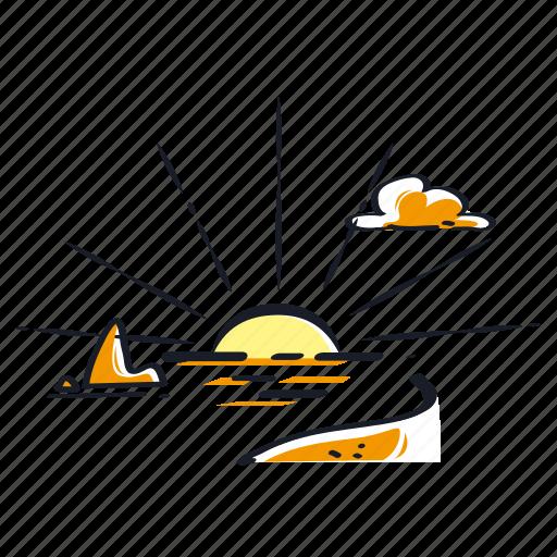 beach, sun, sunrise, sunset, weather icon