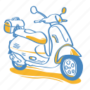 scooter, motorcycle, moto, automobile, motorbike, vehicle icon