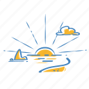 beach, sun, sunrise, sunset, weather icon