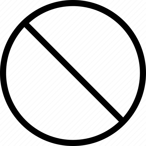 circle, crossed, line, mark, no, not icon