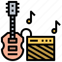 and, bass, electric, guitar, multimedia, music, string icon