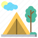activities, camping, forest, moon, rural, scenery, tent icon