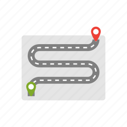 drive, highway, location, map, ride, road, way icon