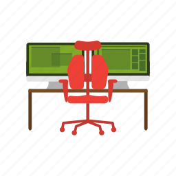 chair, computer, office, workplace, workspace icon