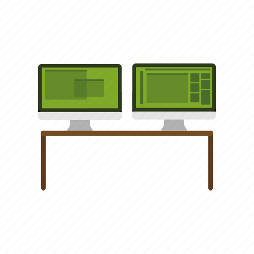 computer, monitor, office, workplace, workspace icon