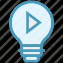 bulb, energy, idea, light, light bulb, media, video play icon