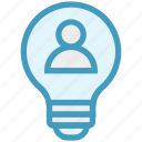 bulb, energy, idea, light, light bulb, person, user