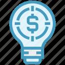 bulb, dollar, energy, idea, light, light bulb, target