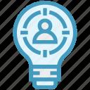 bulb, energy, idea, light, light bulb, target, user