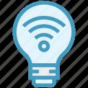 bulb, energy, idea, light, light bulb, signals, wifi icon